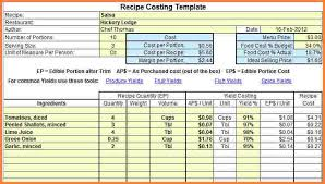 recipe costing spreadsheet free download