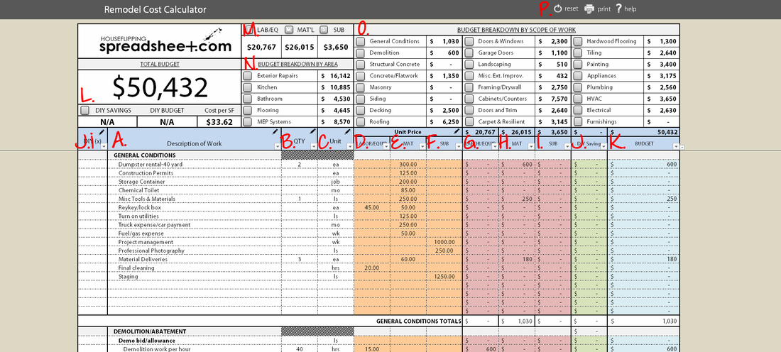 Residential Construction Estimating Spreadsheets Download