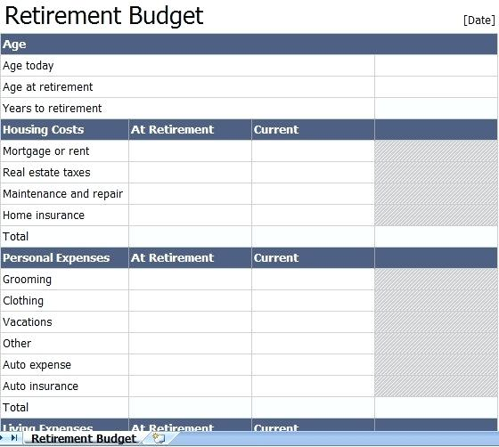 retirement planning worksheet pdf budget spreadsheet template