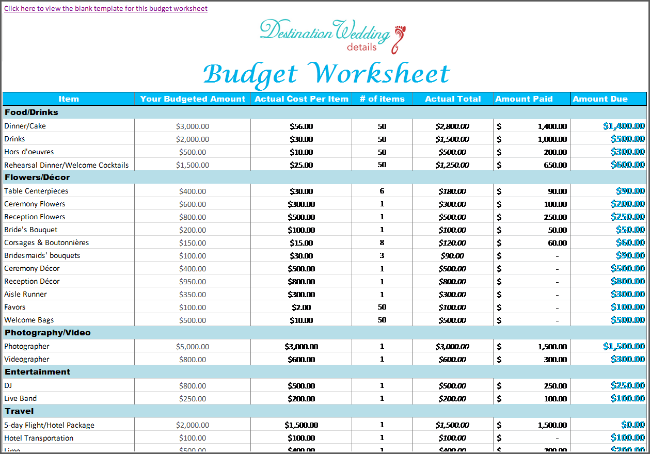 simple bridal musings wedding budget spreadsheet