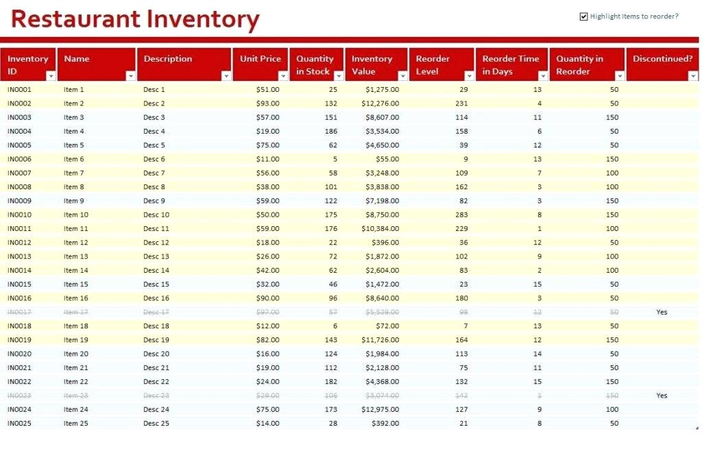 simple restaurant food inventory stocktaking spreadsheet