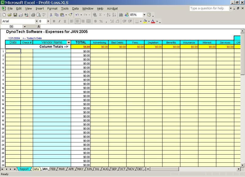 small business expenses accounting spreadsheets free