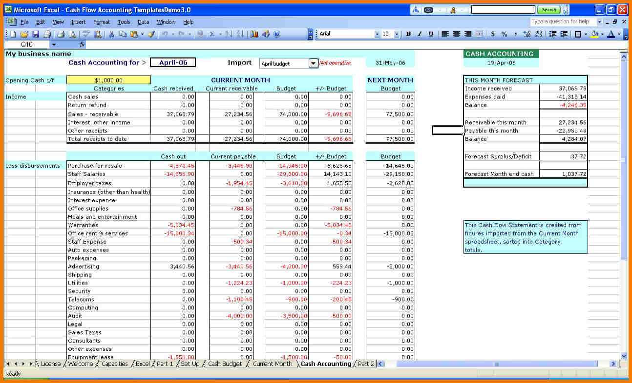 small business income and expenses spreadsheet template natural