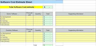 software project cost estimation sheet template download