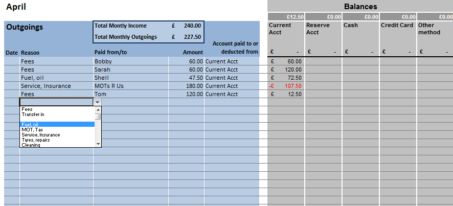 sole trader accounting spreadsheet