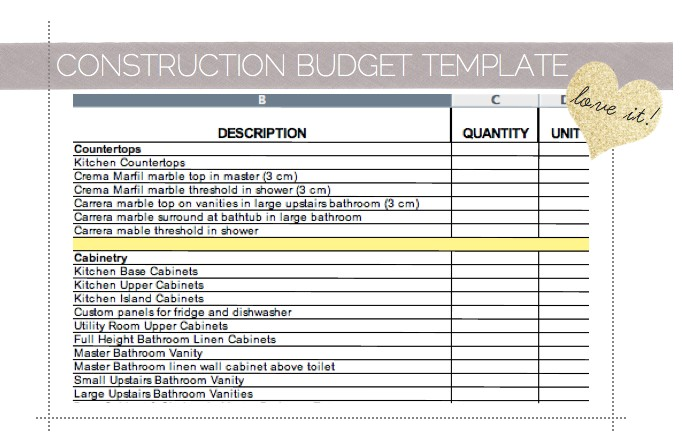 Home renovation cost spreadsheet samplebusinessresume for Home building cost spreadsheet