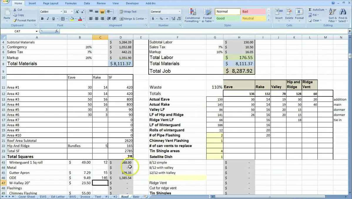 steel fabrication estimating spreadsheet template
