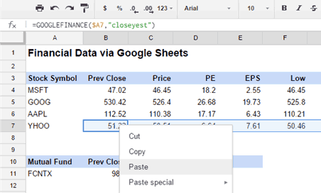 stock quotes google sheets formulas