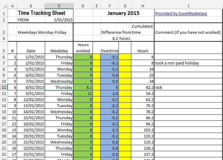 Tracking Spreadsheet Template Excel Excel Template Time Tracking