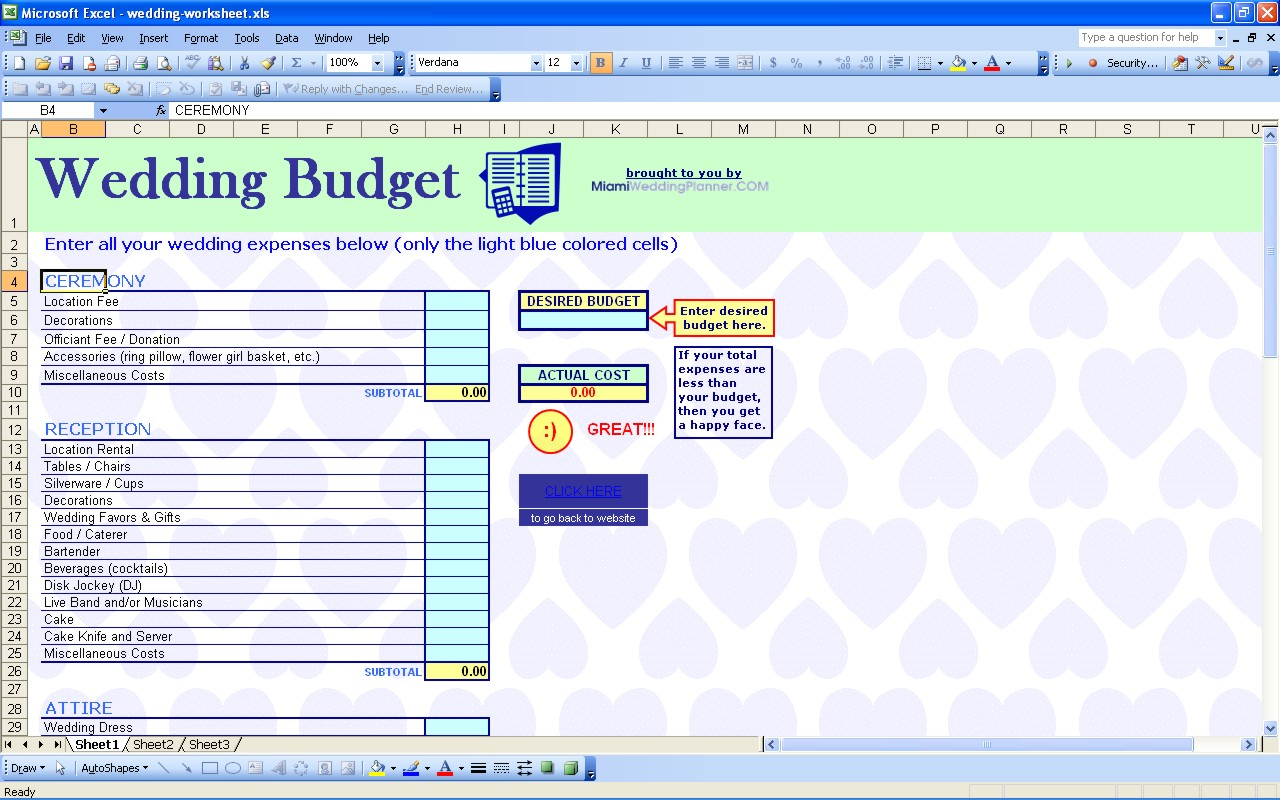 wedding guest list budget template excel spreadsheet