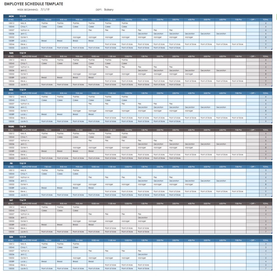 weekly activity employee schedule report excel template