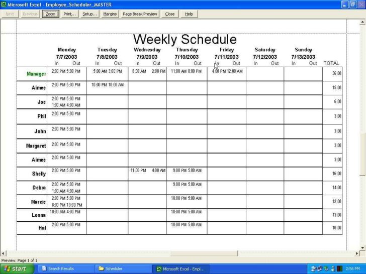 weekly schedule example spreadsheet template excel