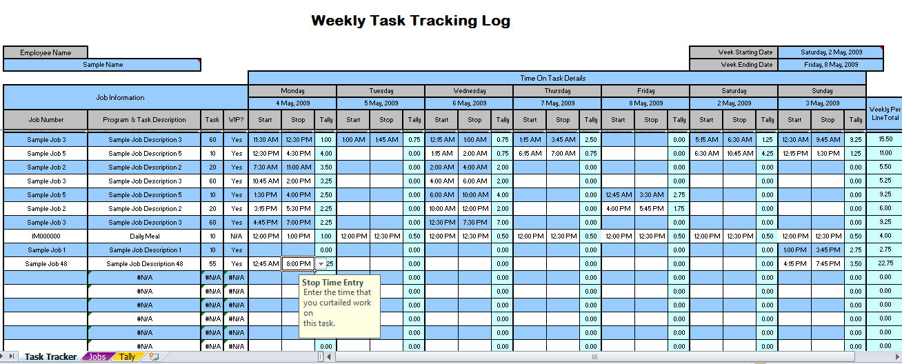 weekly time tracking spreadsheet