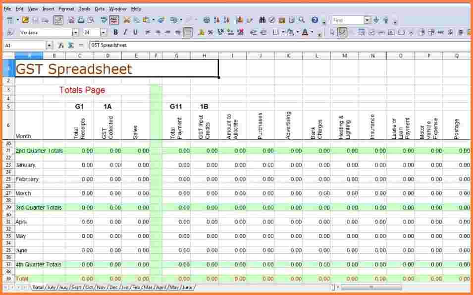 what accounting is spreadsheet software example