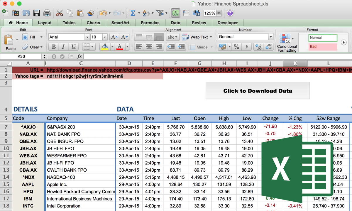 yahoo stock quotes finance spreadsheet
