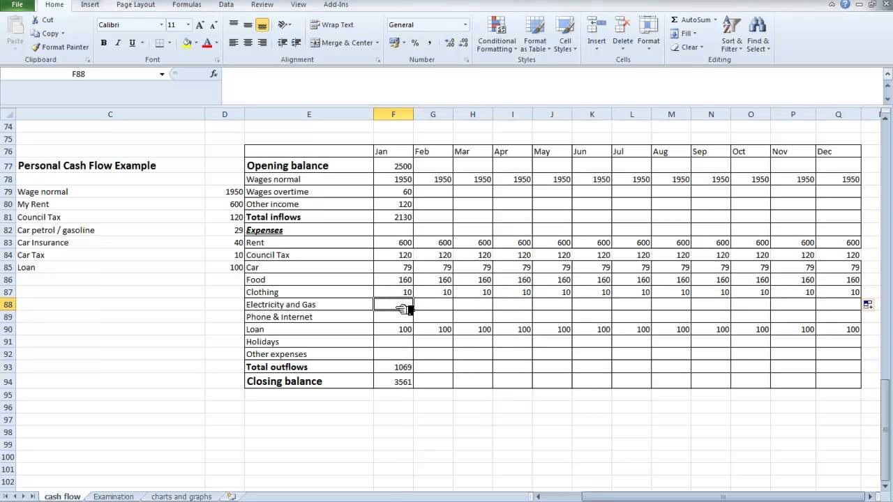 Free spreadsheet cash flow for Cash flow projection worksheet template
