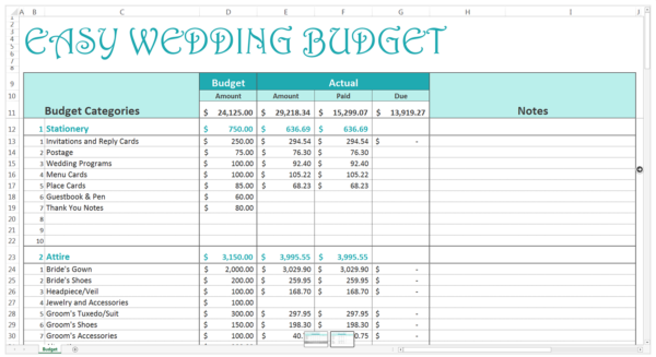 Easy wedding monthly budget template