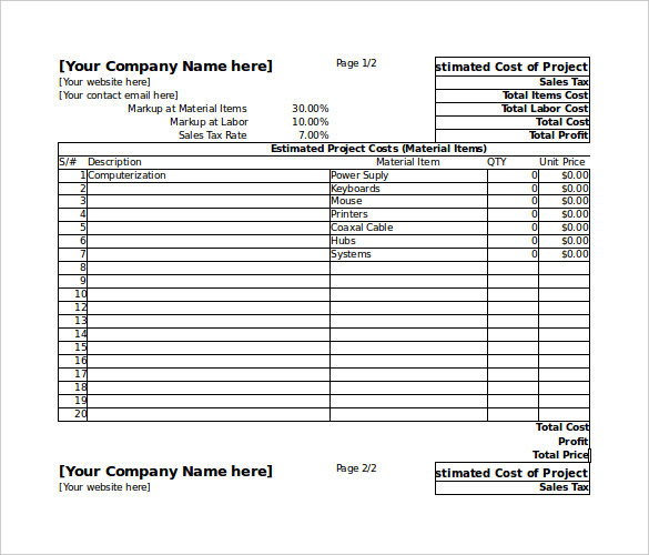 Project Estimate Quote Spreadsheet Template Excel Free