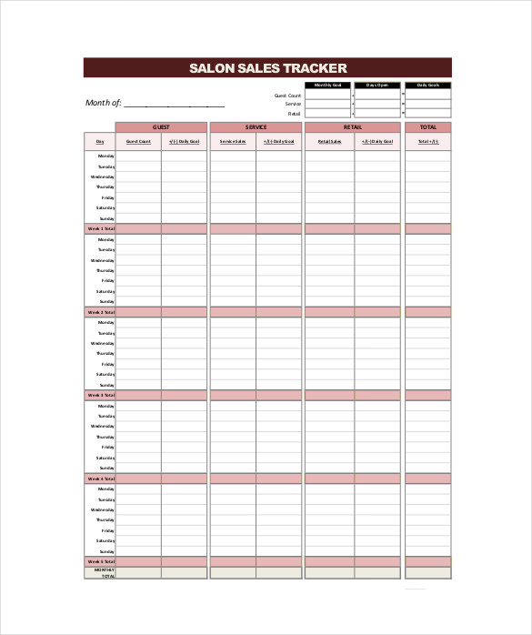 Salon Sales Tracker Free PDF Format Download