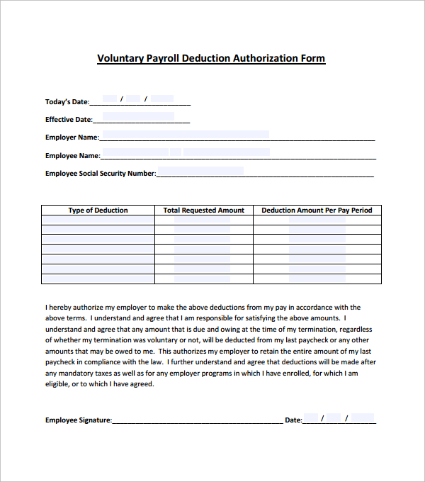 Voluntary Payroll Deduction Authorization Form Template PDF
