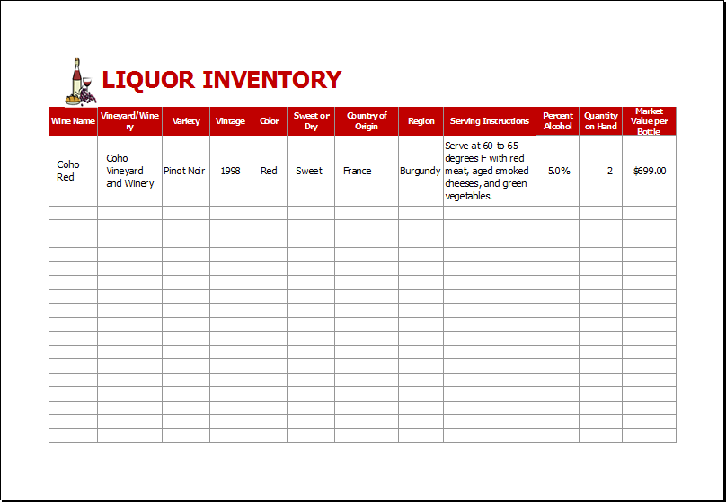 bar inventory stocktake spreadsheet