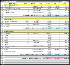 building estimate excel sheet download