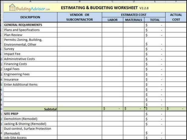 construction estimating spreadsheet