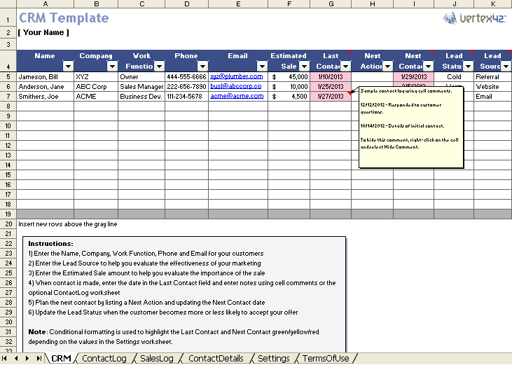 contact management template in excel