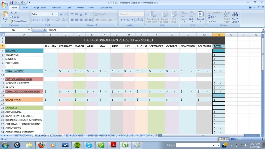 excel templates for photographers