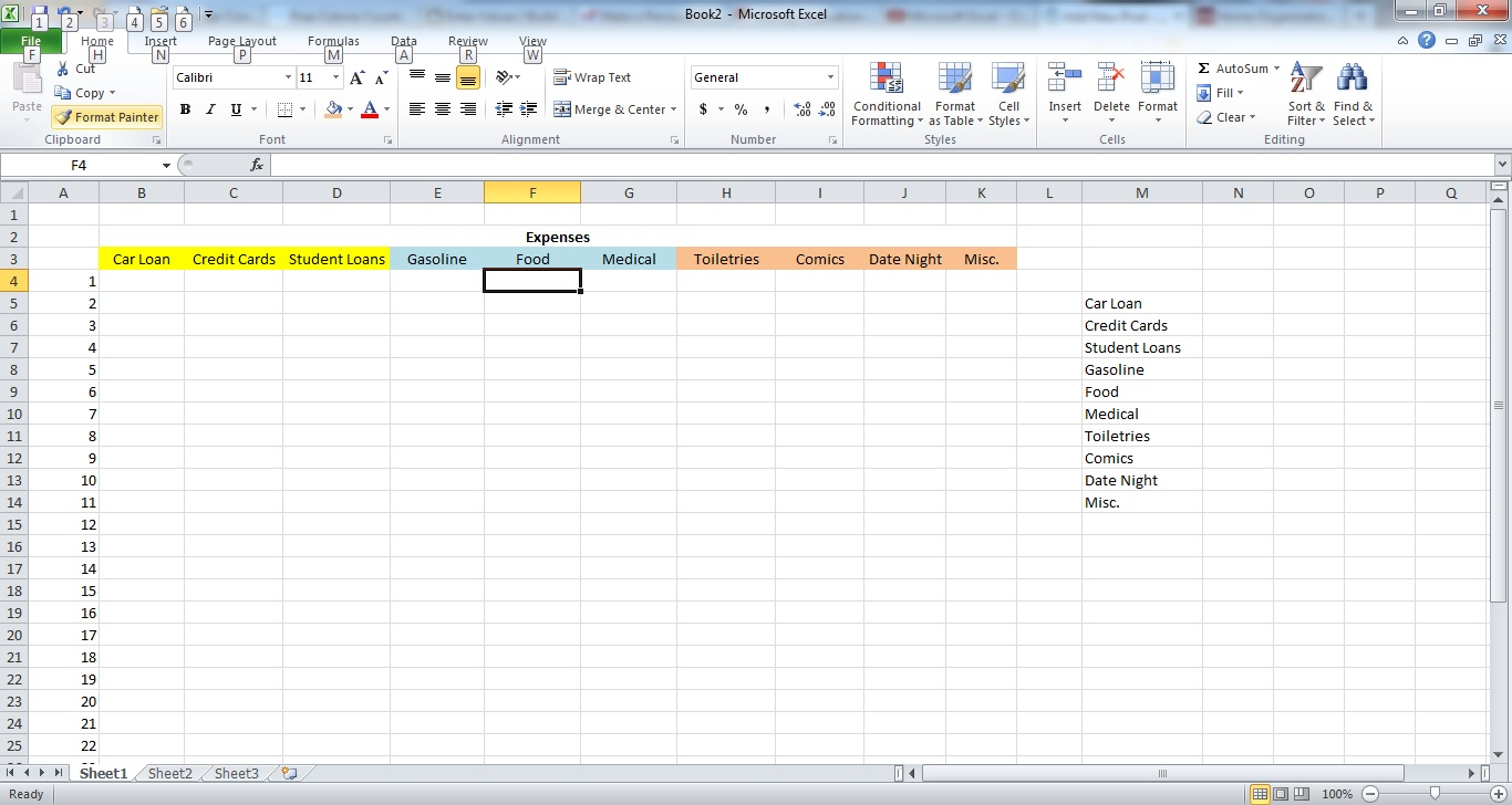 how to make a simple expense spreadsheet