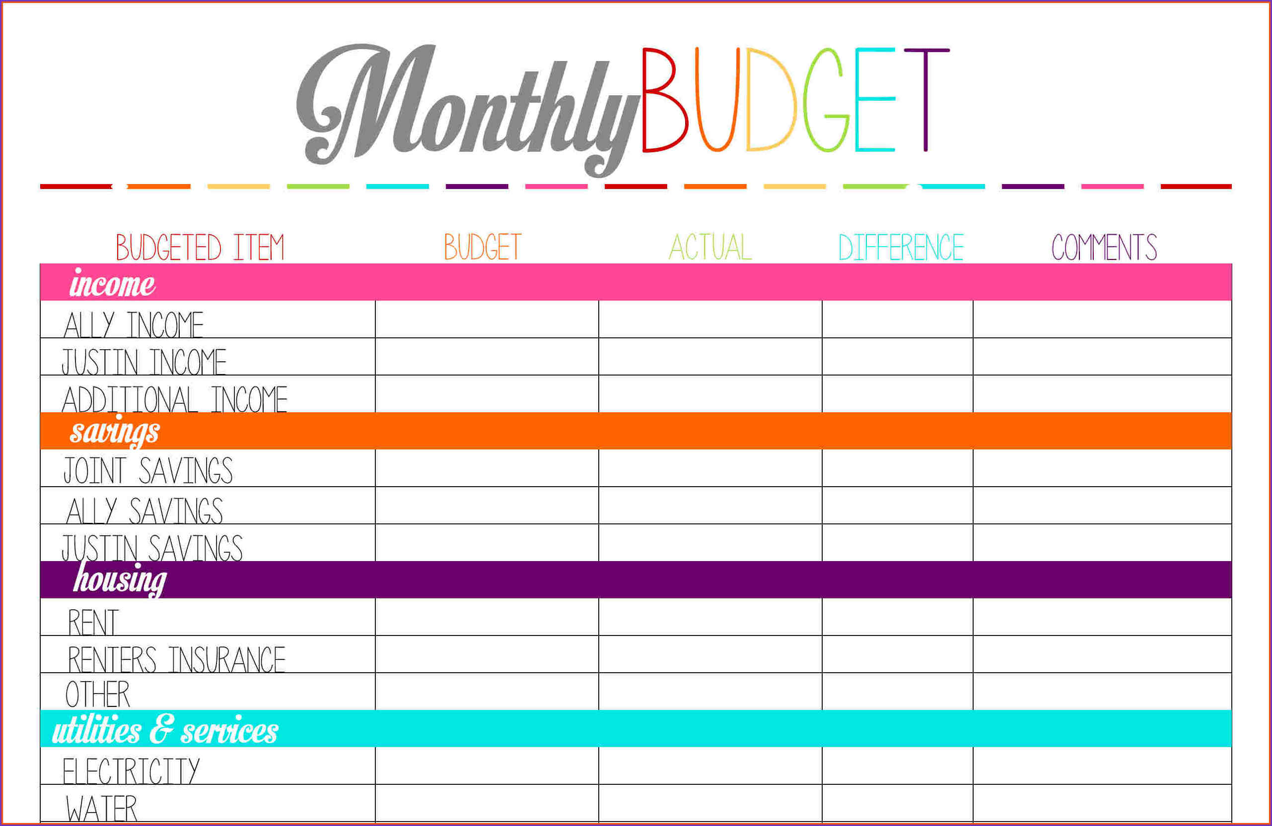 free printable budget sheet monthly pdf