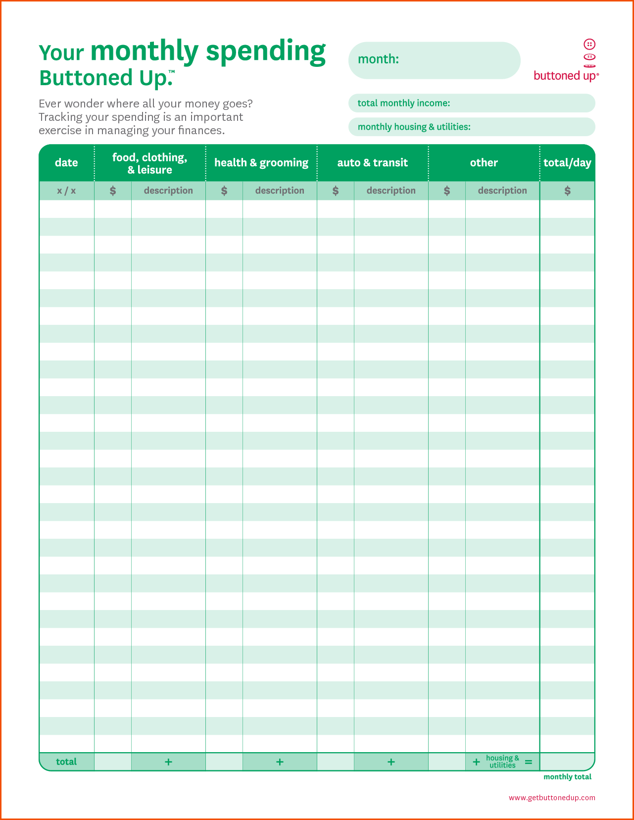 free monthly budget template - free printable monthly budget worksheet