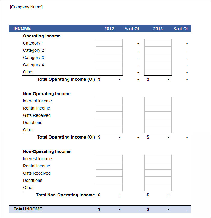 printable profit and loss statement form design templates