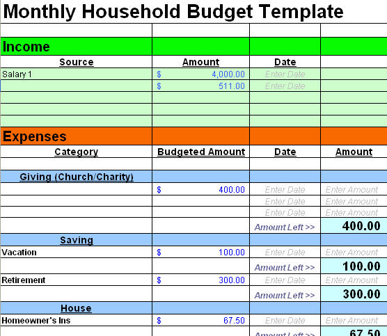 free simple budget template