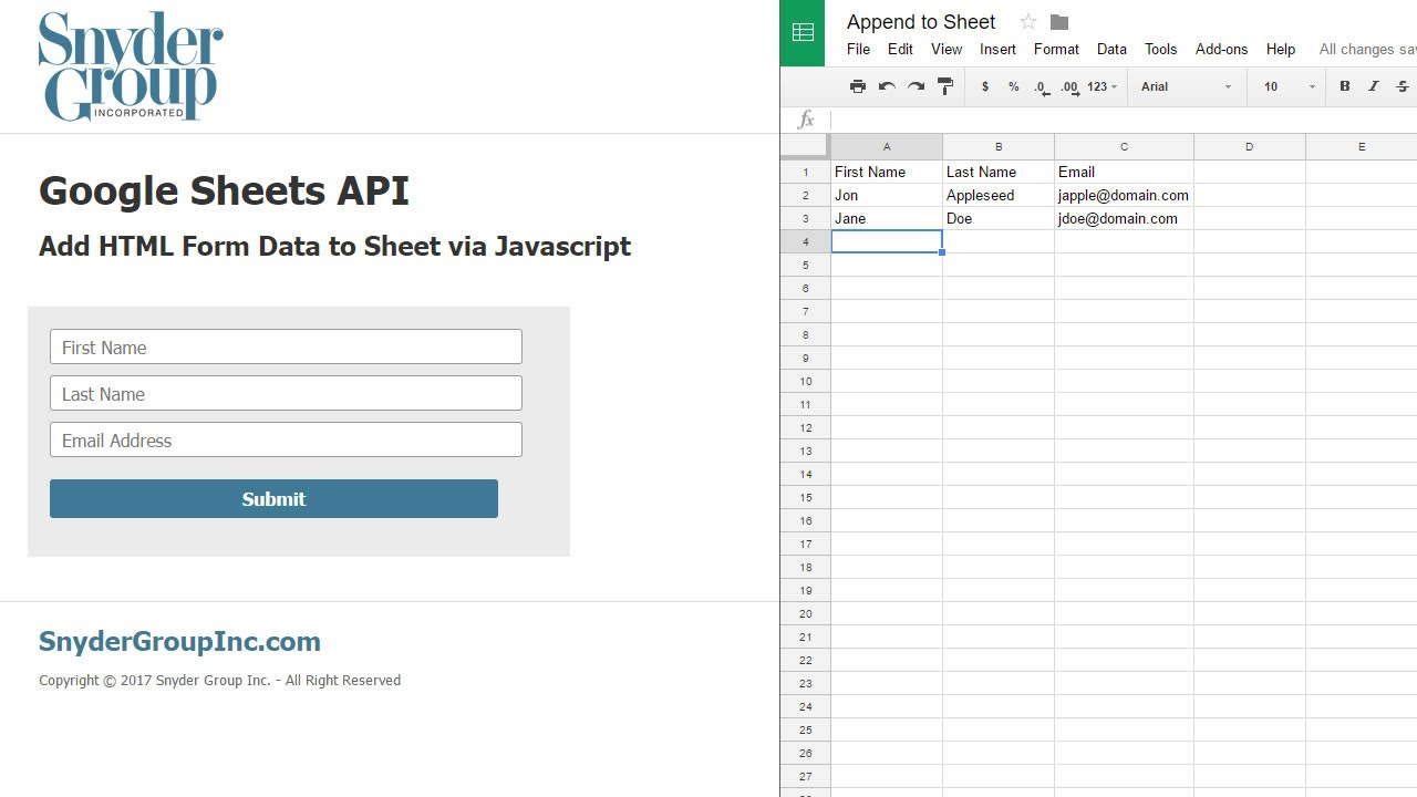 google sheets api nodejs