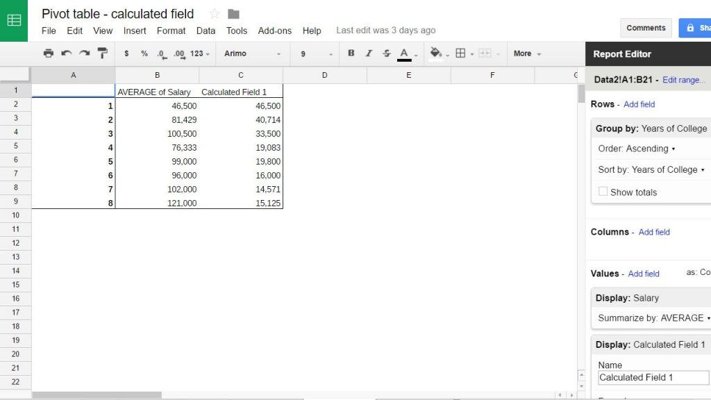 google sheets pivot table calculated field percentage of total