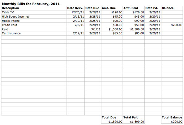 household monthly bills budget template printable spreadsheet