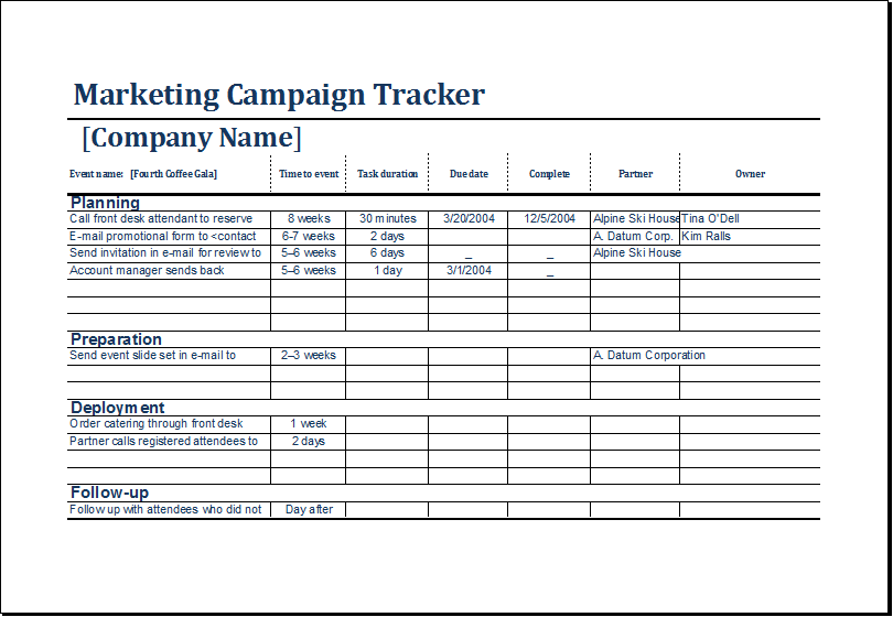 marketing campaign tracker template excel