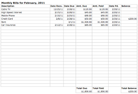 monthly bill organizer template excel download