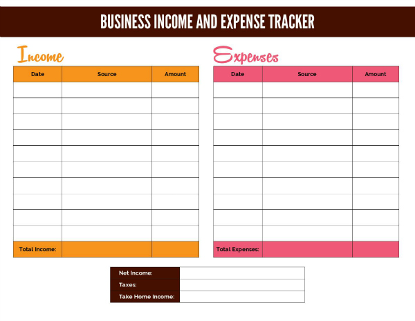 monthly expense & income spreadsheet