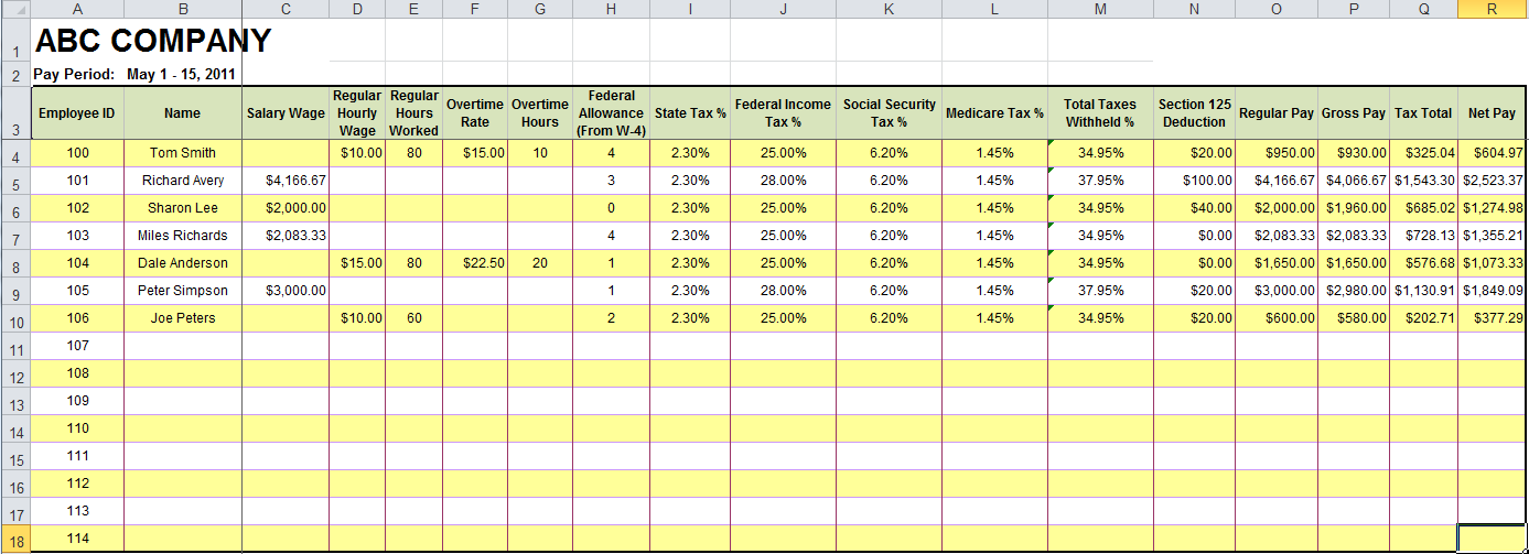 using excel for payroll