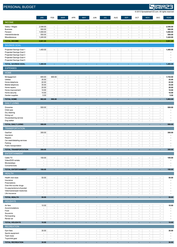 personal budget excel accounting template