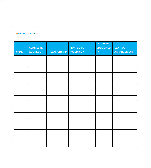 printable wedding guest list template spreadsheet