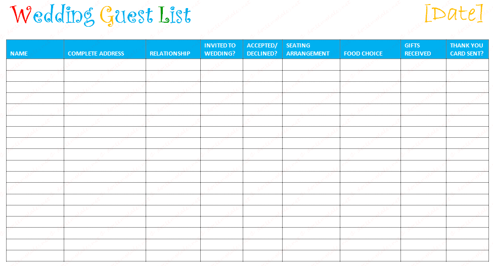 printable wedding guest list template SampleBusinessResumecom