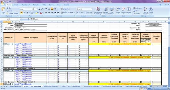 construction estimating spreadsheet template lovely