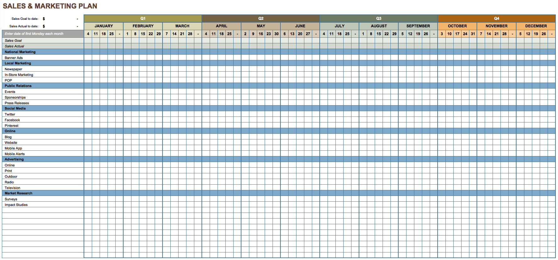 sales and digital marketing plan template excel