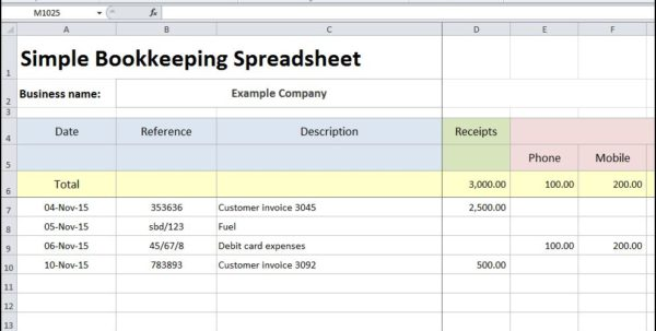 simple bookkeeping spreadsheet for small business