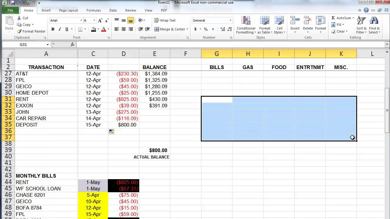 simple budget template excel