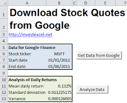 stock quotes download to excel