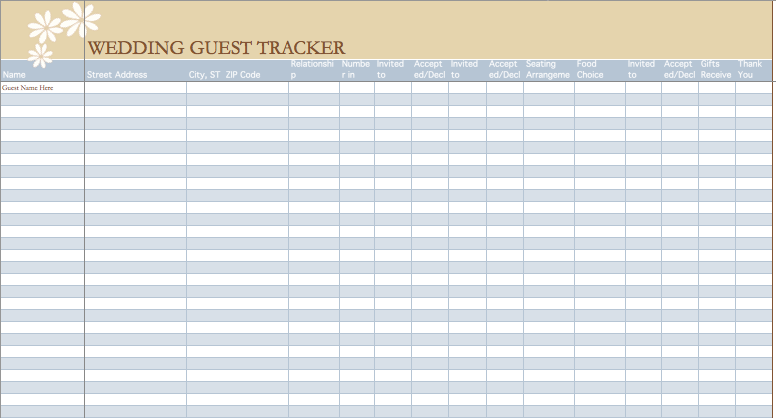 wedding guest list organizer